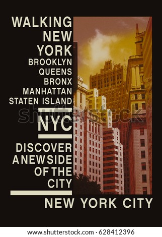 Photo print New York , tee shirt graphics , typography,