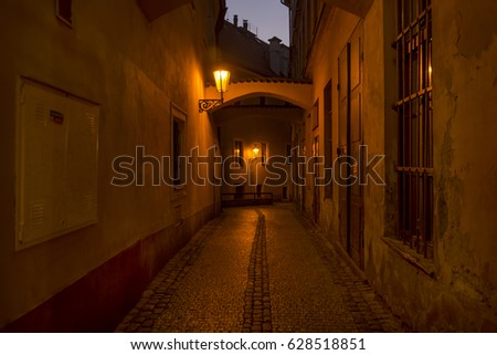 Dark Back Alley From Prague, Czech Republic #628518851