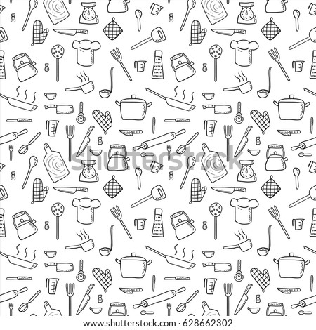 Cooking utensils and kitchen tools - seamless background doodle vector. Royalty-Free Stock Photo #628662302
