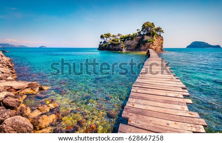 Bright spring view of the Cameo Island. Picturesque morning scene on the Port Sostis, Zakinthos island, Greece, Europe. Beauty of nature concept background. #628667258