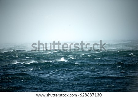 Detail of the stormy sea on a windy day #628687130