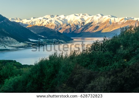 Lake Hawea, view from the Isthmus peak track, New Zealand #628732823