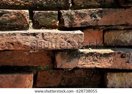 Closeup old bricks in temple, Ayutthaya, Thailand #628738055