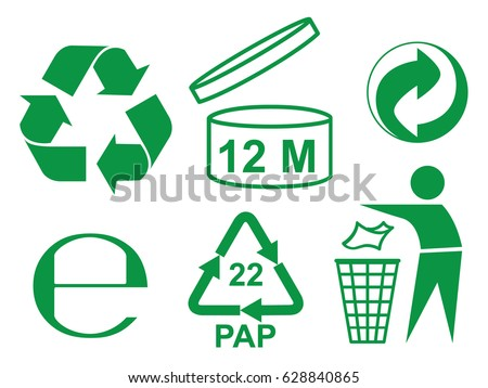 Recycle and some packaging sign Royalty-Free Stock Photo #628840865