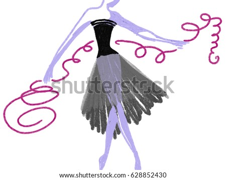 Drawn silhouette of dancing lady in black dress as ballerina night  by oil color and watercolor, isolated hand drawn illustration on the white background, fashion illustration #628852430