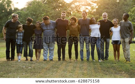 Group of people support unity arm around together #628875158
