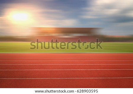 nobody running track for athletic competition, empty motion blur race background for training #628903595