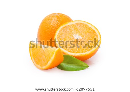 Juicy and fresh oranges isolated on a white background. / Oranges