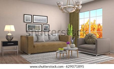 Interior living room. 3d illustration #629071895