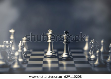chess board game concept of business ideas and competition and strategy with fog or smoke effect #629110208