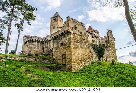 Ancient castle on hill landscape