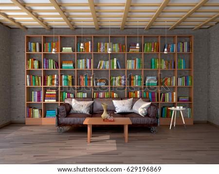 The interior of living room in loft with bookshelves. 3d illustration #629196869