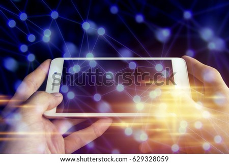 use phone connect globe network ai social, cyber net web, internet of things, system of server, data information security, hacker attack, online electric, business with application software #629328059