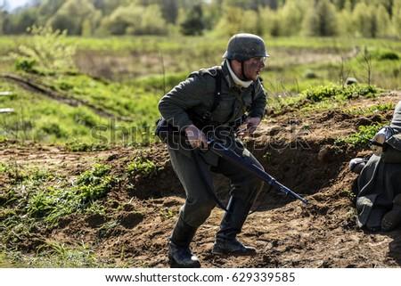 Rosowek, Poland, april 23, 2017: Historical reconstruction battle for Stettin in 1945, Red army against Wehrmacht in Rosowek. #629339585