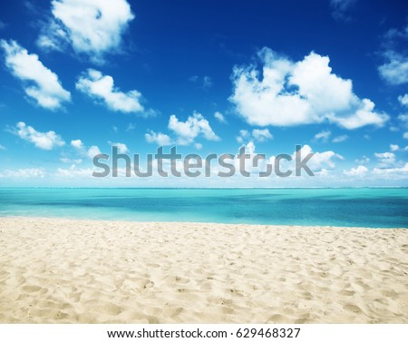 sunny tropical beach and perfect sky #629468327