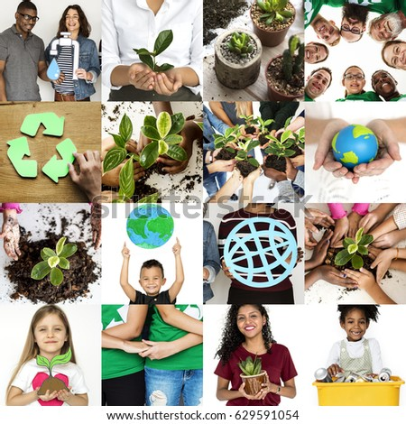 Environment Responsible Green Global Ecology People Studio Collage #629591054