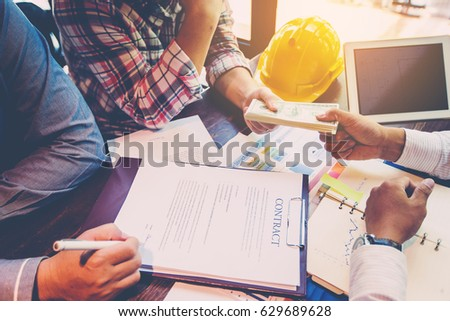 Business group meeting for sign contract and profit from construction business #629689628
