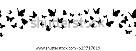 Banner with silhouettes of butterflies