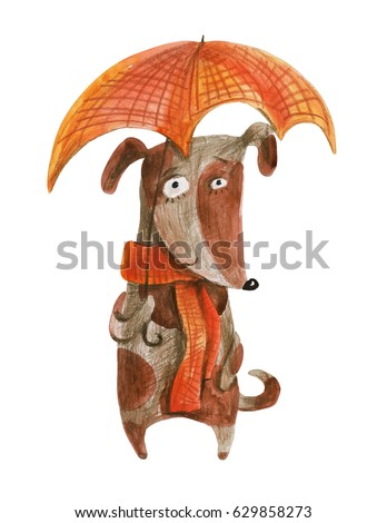 Dog with red plaid umbrella. Watercolor illustration. Hand drawing