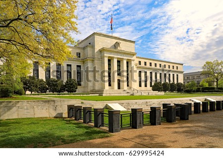 Federal Reserve building in Washington, DC., in the Spring Royalty-Free Stock Photo #629995424