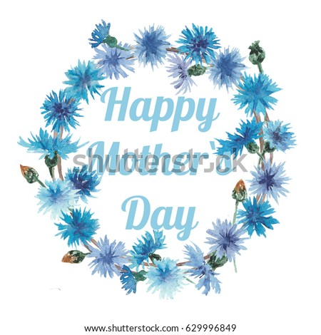 Watercolor wreath, happy mother`s day