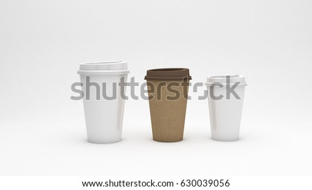 white and brown cardboard coffee cups on white background, ecology concept, 3d illustration #630039056