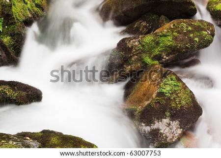 Small mountain brook, autumn season, horizontal orientation #63007753