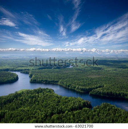 Aerial view the river on green forest plain.. #63021700
