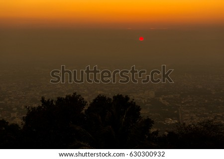 Panorama of Thai Chiang Mai from beautiful buddhist Wat Phra That Doi Suthep temple in northern Thailand. Pictures of in south east Asia during sunrise. #630300932