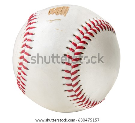 Isolated Grungy Scuffed Baseball On A White Background #630475157