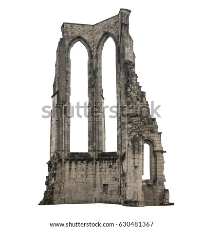 The old ruins of a building, white background, isolated. Royalty-Free Stock Photo #630481367