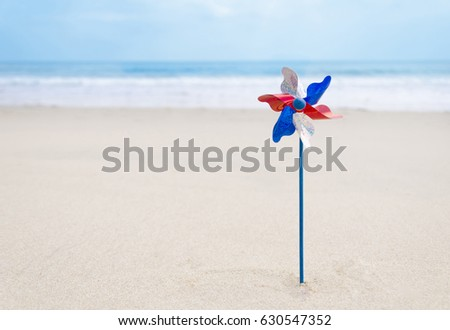 Independence Day USA background on the sandy beach near the ocean/ American Patriotic comcept #630547352