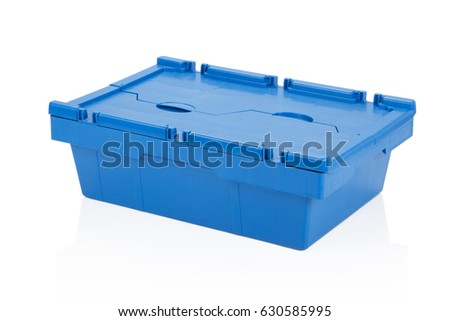 Closed blue plastic box on white background with reflection. #630585995