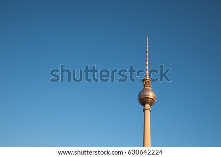 Tv tower on blue sky with copy space - Berlin symbol, television tower #630642224