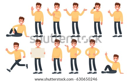 Set of a guy in casual clothes in different poses. A character for your project. Vector illustration in a flat style Royalty-Free Stock Photo #630650246