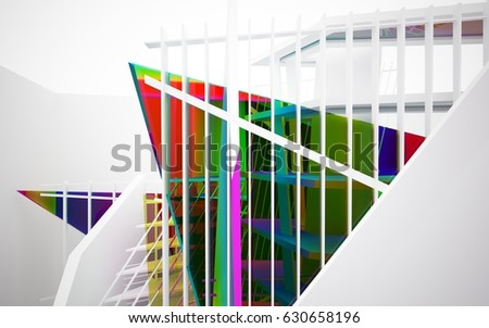 abstract architectural interior with white sculpture and geometric glass lines. 3D illustration and rendering #630658196