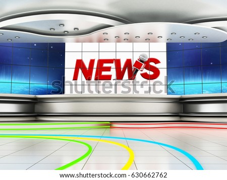 Modern news studio with large TV screens. 3D illustration. #630662762