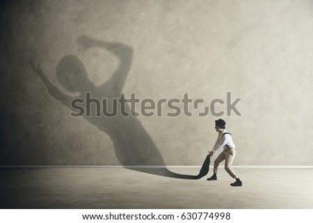 Man drags his lazy shadow