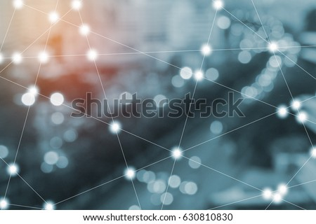 wireless sensor network, sensor node and connecting line, ICT (information communication technology), internet of things, abstract image visual, white space empty. Royalty-Free Stock Photo #630810830