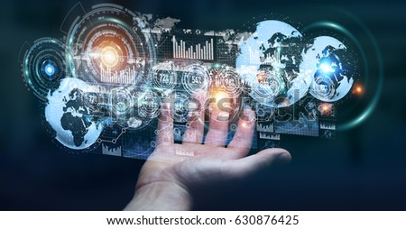Hologram screen with digital datas used by businessman on blurred background 3D rendering #630876425