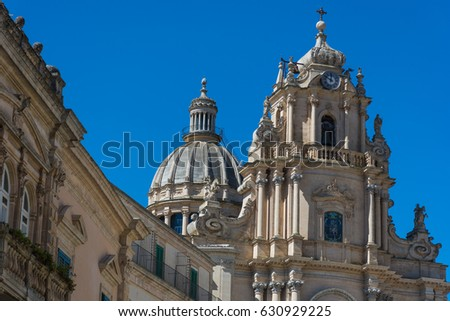 Abstract and conceptual of Sicilian Baroque, ancient town Ragusa. The places of Montalbano, Italian TV drama known throughout the world. From dusk to night, and the blue hour. #630929225