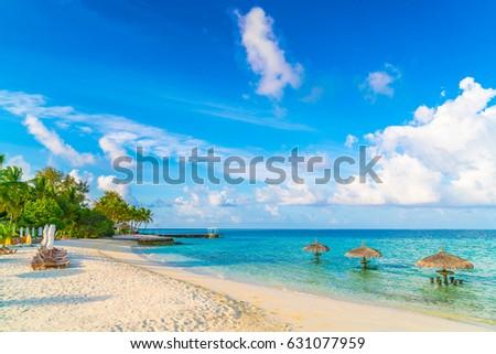 Beautiful tropical Maldives island with white sandy beach and sea #631077959