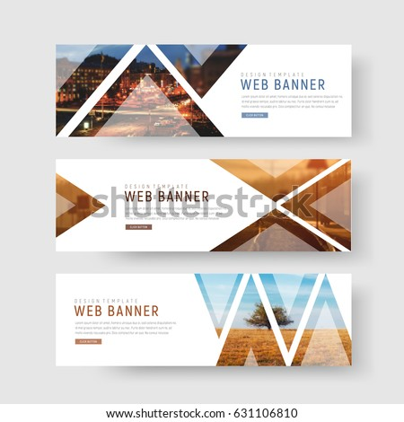 set of horizontal white banners with triangular shapes for a photo. Universal template for a web site with text, buttons and transparent elements. Photo of a mosaic for a sample. Royalty-Free Stock Photo #631106810