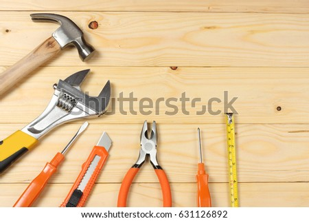 industrial tools on wooden background / tools texture / tools background #631126892