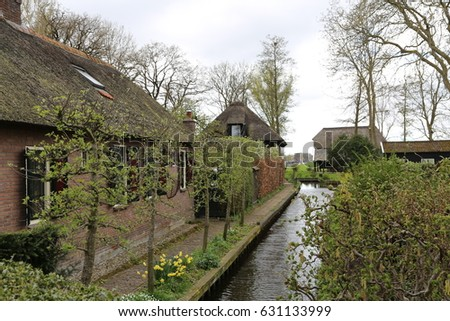 The NETHERLANDS - 16 APR: Water Village in Giethoorn, the Netherlands on 16 April 2017 #631133999