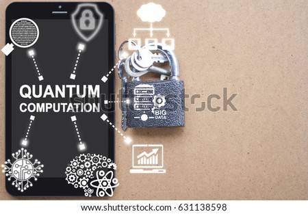 Quantum Computation Tablet Computer Insurance Security Template Concept. Innovation mobile computing safety technology on wooden background.