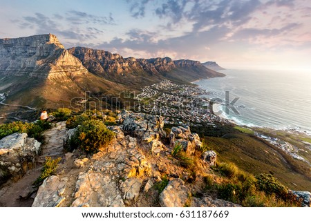 Table mountain sunset Royalty-Free Stock Photo #631187669