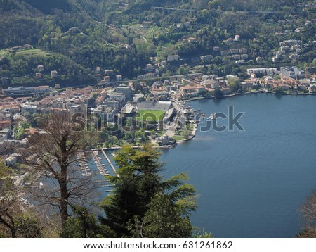 Aerial view of Lake Como, Italy seen from Brunate hill #631261862