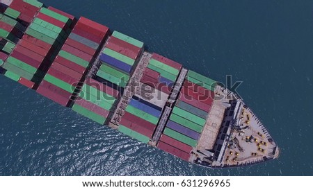 Large container ship at sea - Top down Aerial image #631296965