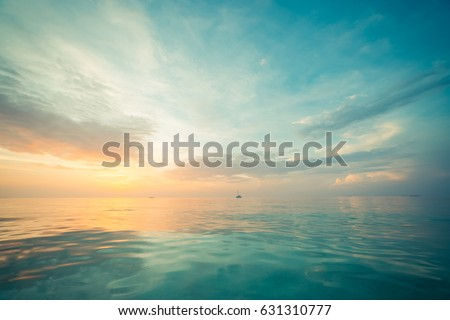 Relaxing seascape with wide horizon of the sky and the sea